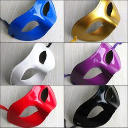Wholesale Latex Venetian Mask - Wholesale New Cheap Latex Mask Simple Flat Paint Masquerade Mask Venetian Mask Dance Halloween Christmas Half Mask Party Mask
