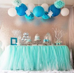 Wholesale Table Skirts Wholesale - new Wedding Tulle Tutu Table Skirt Custom Made Colors Birthdays Dessert Station Skirt Baby Showers Parties Table Decoration 100*80CM wn331