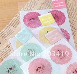 Wholesale Lace Lovely Adhesive Sticker - Wholesale-Creative round lace lovely adhesive sticker tape for DIY decor scrapbook diary photo album cart gift crafts CN post