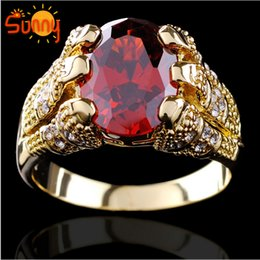 Wholesale Ruby Stone Rings - High quality Jewelry Brand New ruby men's 10KT yellow Gold Filled Ring size9 10 11 12 1pc Free shipping