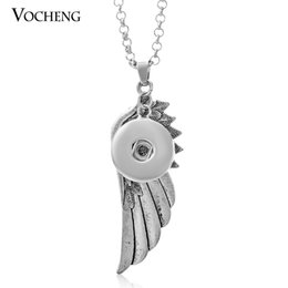 Wholesale NOOSA Interchangeable Jewellery Wing Pendants Necklace Metal Snap Button Jewelry with Stainless Steel Chain VOCHENG NN