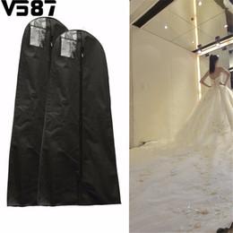 Wholesale Bridal Wedding Clothes - Wholesale- 1.6 1.8M Waterproof Wedding Gown Bag Bridal Wedding Dresses Dustproof Protective Cover Home Closet Wardrobe Storage Accessories