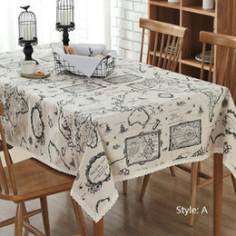Wholesale Wholesale Cotton Tablecloth - Household Printed Table Cloths Cotton Bedsheet Runners Map Print Custom Home European Simple Lace Tablecloths Free Shipping
