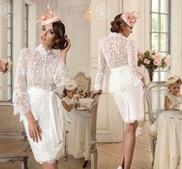 Wholesale Sexy Design Wedding Gown - Hot Sale Knee-length Wedding Dresses 2017 Jewel Unique Women Bridal Gowns Short Lace Formal Wear Long Sleeve Iullsion Sexy Design Sheath
