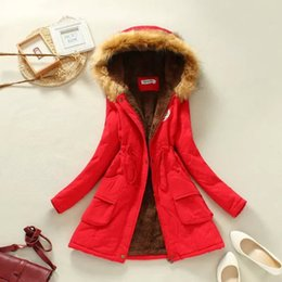 Wholesale Cheap Military Coats - 2015 Winter Womens Parka Casual Outwear Military Hooded Coat Winter Jacket Women Fur Coats Women Overcoat Cheap Clothes