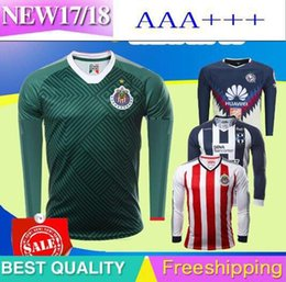 Wholesale America Long - 2017 Chivas de Guadalajara Long Sleeve Jerseys Green 3rd Soccer 17 18 Club America Monterrey Full A.PULIDO Maillot de foot football shirts