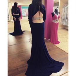 Wholesale Carpet Cutting - Abendkleider Long Sleeve Navy Blue Backless Formal Woman Evening Dresses Cut Out Sexy Robe De Soiree 2016 Fashion Vestido De Festa