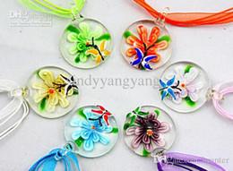 Wholesale Venetian Glass Flowers - Lampwork glass pendant necklace Fashion Italian venetian Murano Round beaded 3D Flower glass jewelry