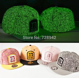 Wholesale Glow Dark Hats - Wholesale-Cool Glow in the dark Luminous Glow Snapback Baseball Cap Club Party Dance night Hat hiphop Hot Hat the trend of summer