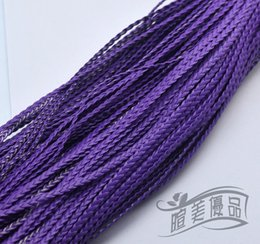 Wholesale Leather Meter Jewelry - colors choose 100 Meters Fashion Woven PU Leather Cord DIY Jewelry Three braided 5mm Flat leather cord Findings