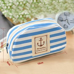 Wholesale large canvas for cheap - Wholesale-Large Capacity Quality Cute Girls Coin Purses Cheap Stripes Casual Canvas Coin Bags For Women Stationery Bag 3 Colors