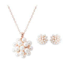 Wholesale Pearl Earrings Bridesmaids - 18kgp Pearl Jewelry Sets For Women Fashion Female Necklace Earrings Sets Fashion accessories bridesmaid jewelry sets CAL21060B