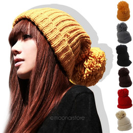 2019 gorro estilo coreano Al por mayor-estilo coreano encantador de punto de lana Crochet Unisex Headwear cálido invierno Beanie Ball 6 colores Hat Cap para parejas amantes M * HM325 # S12 gorro estilo coreano baratos