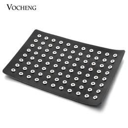 Wholesale Small Boxes For Jewelry - VOCHENG Small NOOSA Convenient and Portable 8''*12'' Black Genuine Leather Display for 12mm Snap Buttons Jewelry (Vn-326)