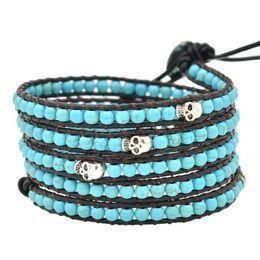 Wholesale Turquoise Bead Leather Wrap Bracelet - Lily DIY Leather Bracelet Agate Bead Womens Fashion Wrap Leather Wristband Skull Cuff Turquoise Bracelet Bangle