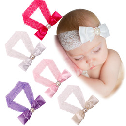 Wholesale Pearl Elastic Headband - Baby Girl Lace Headbands Double Bow Pearl Elastic Headbands for Girls Children Hair Accessories 5 Colors Christmas Hairband Infant Headdress