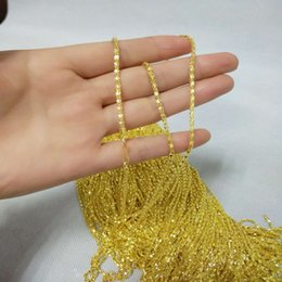 Wholesale Vietnam Gold - 50 pcs lot Plating Vietnam sand Gold Necklaces Hollow chains Safety without stimulation Shining Imitation gold Necklaces Length 18 inch 2 mm