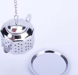 Wholesale Herbal Ball - NEW Tea Infuser 3.8CM Teapot shaped 304 Stainless Steel Herbal Pot Tea Infuser Strainers Filter 100pcs Tea Ball