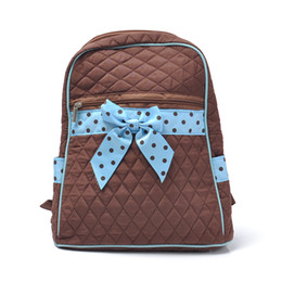 Wholesale Bow Canvas Backpack - Wholesale Cotton Fabric Canvas Girls Backpack Bags School Bags Bow Tie Designer