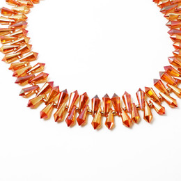 Wholesale Crystal Drop Loose Beads - 100pcs-6x15mm Crystal Glass Cut Faceted Tear Drop Beads Orange Luster Jewelry Charm Pendant Beads Spacer Loose Beads Fit Necklace Bracelet