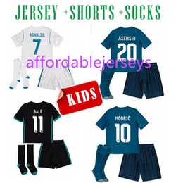 Wholesale youth real madrid jerseys - 17 18 Real Madrid ASENSIO kids soccer jersey kits youth kits 2017 2018 RONALDO BALE ISCO RAMOS football shirts third blue child jerseys