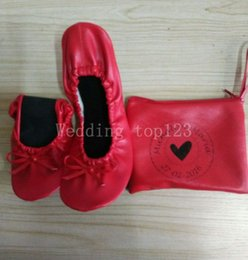 Wholesale Hot Pink Heels Wholesale - 2016 hot sell Factory wholesale pink kidskin flat heel roll up ballerina shoes in bag