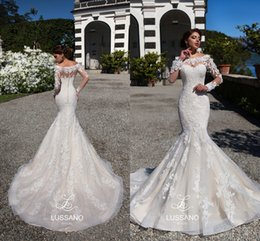 Wholesale Off Shoulder Church Wedding Dress - Church Full Lace Mermaid Wedding Dresses 2017 Off Shoulders Sheer Long Sleeves Bridal Gowns Milla Nova 2017 Wedding Gowns