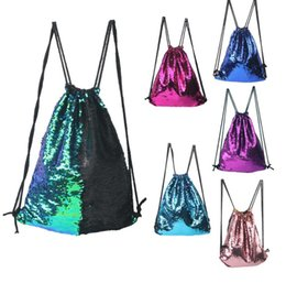 Wholesale Reversible Fabric - Mermaid Sequin Backpack Sequins Drawstring Bags Reversible Paillette Outdoor Backpack Glitter Sports Shoulder Bags Travel Bag