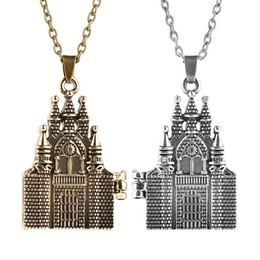 Wholesale Party Castles - Harry Hogwarts Locket Necklace Antique Silver Bronze Castle Pendant Chains Potter Jewelry for Women Kids Gift Drop Shipping