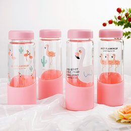 Wholesale Design Glass Bottle Water - Cartoon Water Bottles For Creative Design Flamingo Glass Cup Heat Resisting Portable Outdoor Drinking Tools 7 5sz2 C R