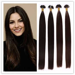 "Wholesale Dark Brown Extensions Fusion Tip - Retail 18-28"" Keratin fusion hair Flat Tip hair extension 100% Indian Remy Human Hair Extensions 1G S 100G PC 300G Lot free shipping"