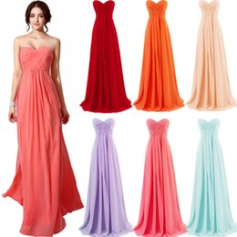 Wholesale Mint Chiffon Beach Dress - Cheap 2015 Coral Blue Lavender Mint Blush Red Bridesmaid Dresses Lace-up Long Chiffon Junior Bridesmaid Dresses Beach Maid Of Honor Dresses