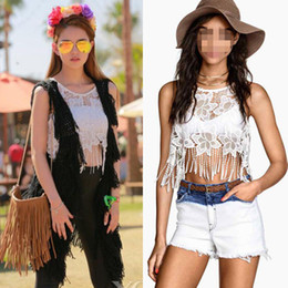 2019 vêtements hippie bohème Débardeur en dentelle Bohemian Clothing Crop Shirt Hippie Camisoles 5pcs / lot S M L Free Shiipping vêtements hippie bohème pas cher