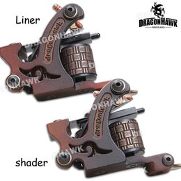Wholesale Cast Iron Tattoo Machine Frames - 2 pcs Tattoo Machine Gun Liner&Shader Steel Frame Copper Coils WQ4449&4449-1