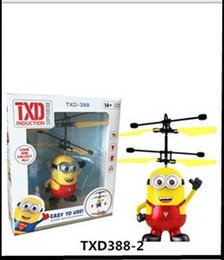 Wholesale Plastic Rc Planes - TXD Induction Flying Aircraft LED Toys RC Helicopter Despicable Me Minion Helicopter Quadcopter Drone Plane With Original packag 10PCS LOT