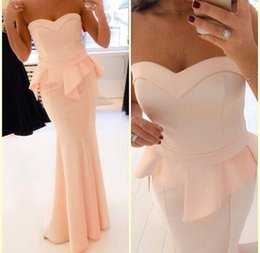 Wholesale Peach Wedding Gowns - New Dresses Party Evening Gowns Vestido De Fiesta Sweetheart Peach Ruffle Maxi Peplum Long Satin Bridesmaids Wedding Prom Dress 2015 BO5231
