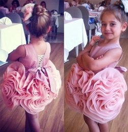 Wholesale Toddler Girls Flower Design Dress - New Design Short Pink Flower Girls Dresses For Weddings 2016 Puffy Flower Satin Skirt Pageant Brithday Christmas Party Dresses For Toddlers