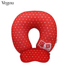 Wholesale Travel Pillow Eye Mask Set - Wholesale- Vegou Brand Travel Neck Care Polystyrene Microbeads U Shaped Pillow Kids Home Soft Cushion Pillow For Valentine's+Eye Mask Set