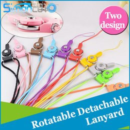 Wholesale Wholesale Cellphone Charms - Rotatable Neck Strap Detachable Ring Lanyard hanging Charming Charms For Cell Phone MP3 MP4 Flash Drives ID Cards Cellphone