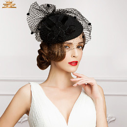 Wholesale Church Bridal Hat - Vintage New Style Black Color Tulle+Feather Wedding Bridal Hats Evening Party Headwears In Fashion