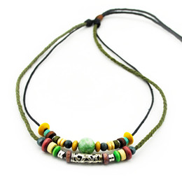 Wholesale Tribal Beaded Necklace Wholesale - 20pcs Drop Surfer Tribal Woven Hemp Leather Necklace beaded anchor alloy retro ethnic style Cotton rope braided leather Necklace Unisex