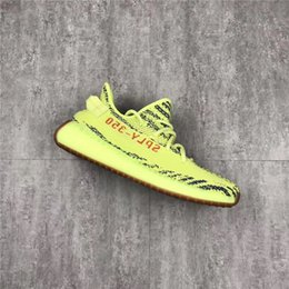 Wholesale Box Top Labels - Top Real label Kanye West 350 Boost V2 Semi Frozen Yebra Yellow Running For Men Women With Original Box Sneakers Or Authentic Shoes B37572