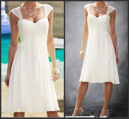 Wholesale Casual Beach Wedding Dresses Ruched - Cheap 2016 White Beach Wedding Dresses Cap Sleeve Sweetheart Pleats Empire Knee Length Chiffon Custom Casual Short Bride Bridal Gowns