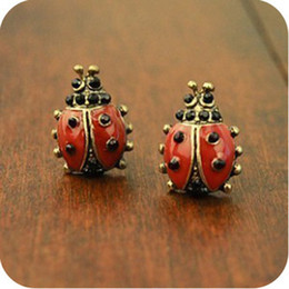 Wholesale Small Stud Earrings Animals - Cute Small Animal Ladybug Earrings Brincos for Women Gold Color Girl Stud Earrings Fashion Insect Jewelry