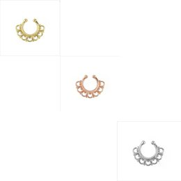 Wholesale Nose Piercing Nostril - 10pcs faux septum Medical Nostril Gold Silver Nose Hoop nose ring piercing fake nose stud on Body Piercing Jewelry For Women N0021
