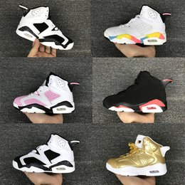 Wholesale Boy S Sport Shoes - Children\'s Basketball Shoes Kids Retro 6 Metallic Gold Sports Shoes Boys Girls Youths Oreo Black Infrared Athletic Sneakers Cheap For Sale