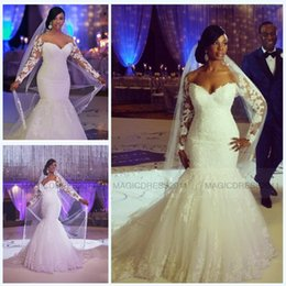 Wholesale Cowl Neck Beach Wedding Dresses - 2015 Gorgeous Mermaid Wedding Dresses with Long Sleeve Beach Bridal Gowns Sweetheart Appliques Plus size Court Train Vintage Wedding Gown