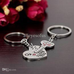 Wholesale New Romantic Creative Birthday Gift Couple K0eychain I LOVE YOU Heart Keychain Ring Keyring Key Chain Lover For Couples In Love