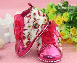 Wholesale Cute Babies Red Roses - BX76 New Lovely Cute 3D Rose Floral Shoes Prewalkers Footwear Baby Infant Toddler Girls Shoes