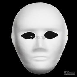Wholesale Masks Art - Full Face Thin Plain White Party Masks Environmental Paper Pulp Blank DIY Fine Art Painting Unpainted Masquerade Mask 30pcs lot